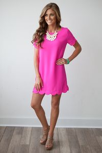It Girl Solid Short Sleeve Scalloped Woven Shift Dress - Hot Pink