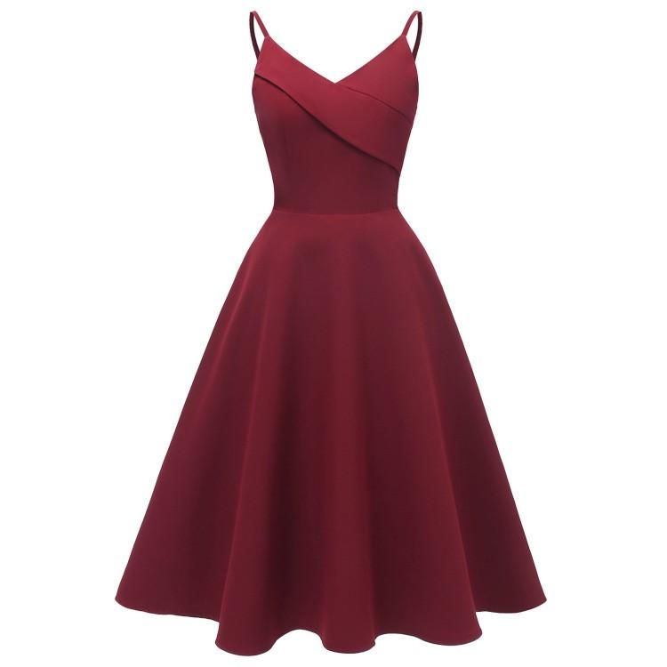 Women S Dress V Neck Backless A Line Swing Party Dress Burgundy Cocktail Dress Vintage Dresses Homecoming Dresses