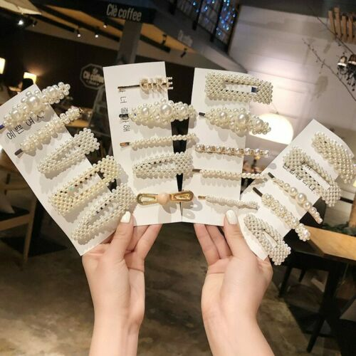 Details about 2019 Fashion 1Set Women Girls Elegant Pearls Hair Clips Sweet Headwear Hair