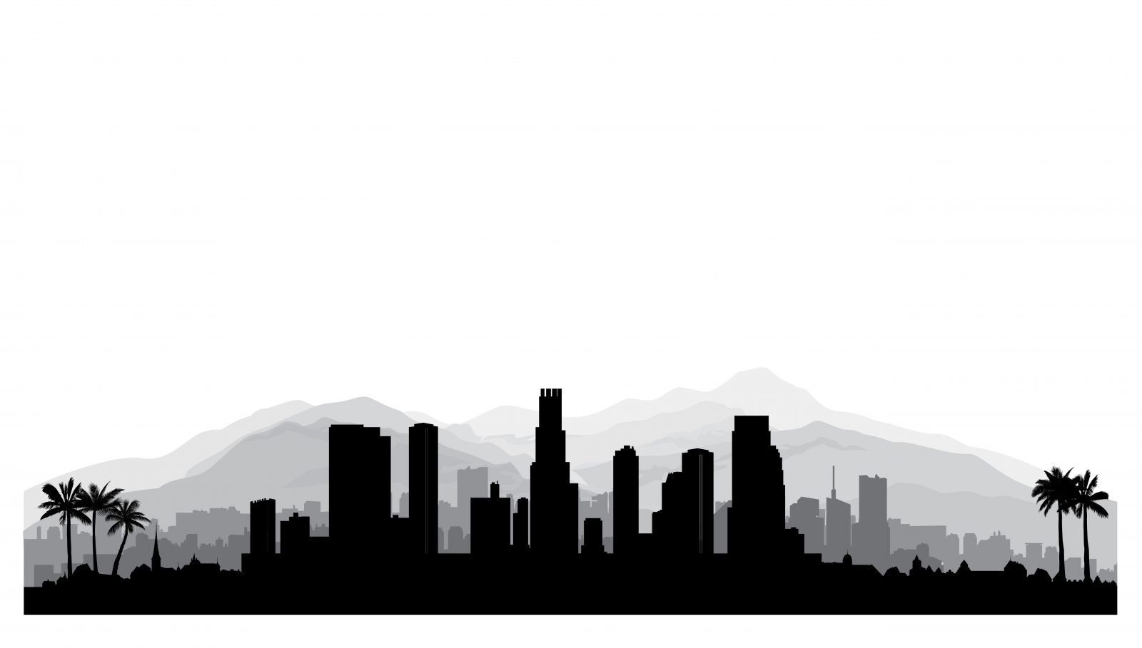 Los Angeles Skyline With Mountains Layered Silhouette For Study City Silhouette Los Angeles Landscape Los Angeles Skyline