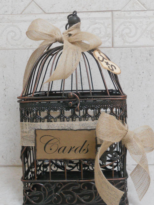 Small Birdcage Wedding Card Holder Rustic Burlap Wedding Card Box