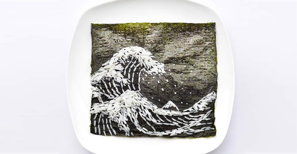 The GReat Wave Made with Nori and Seaweed