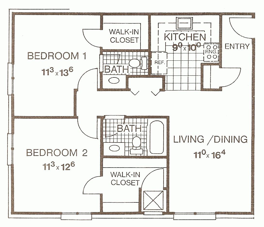 Small Two Bedroom House Plans Two Bedroom Apartment Floor Plans Small 2 Bedroom Apartment Floor Plans House Floor Plans Two Bedroom House