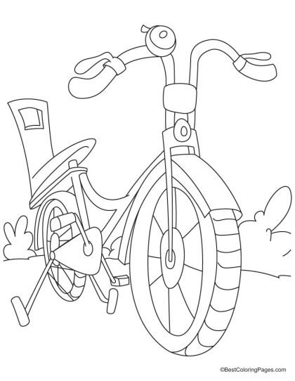 A Small Kid Bicycle Coloring Page