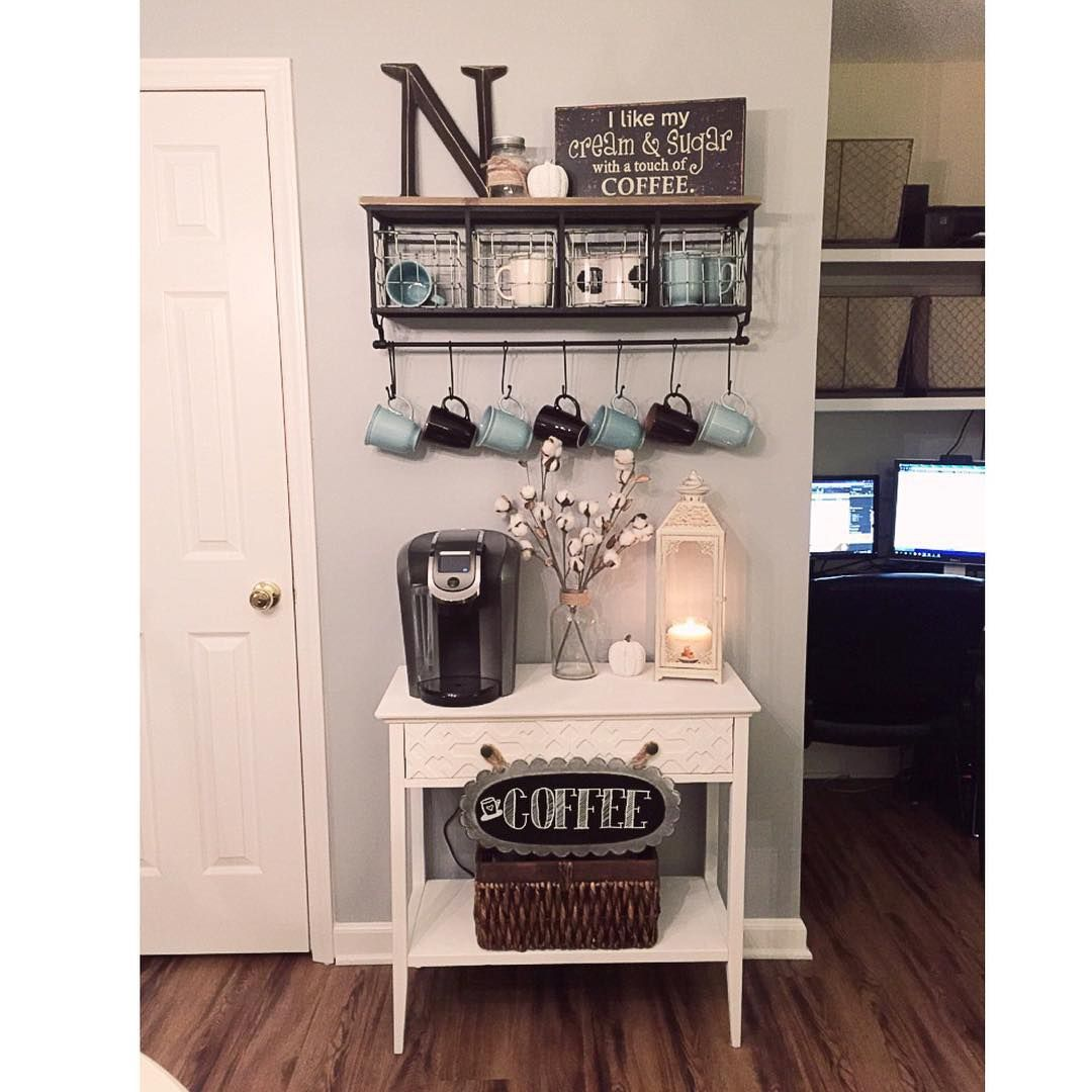 177 Best Images About Coffee Center Ideas On Pinterest: Metal & Wood Shelf With Baskets & 7-Hooks