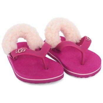 Ugg Girls Pink Fur-Lined Flip-Flops | AlexandAlexa