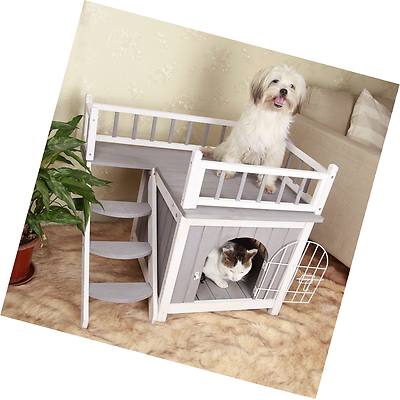 Cat Or Small Dog House Wood Soft Mat Stairs Indoor Pet Condo Inside Play Toy Small Dog House Indoor Pets Dog House