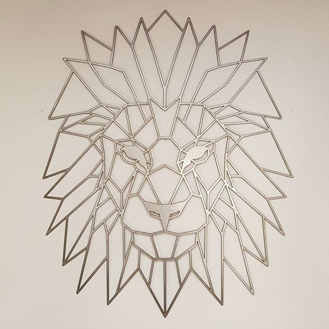 Geometric Metal Wall Art geometric lion metal art | geometric lion, lion wall art and lions