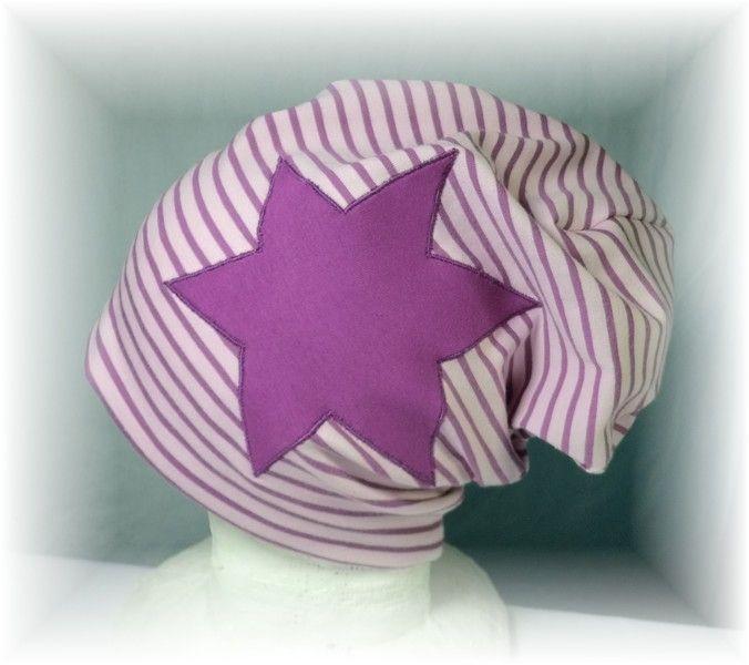 Beanie,rosa/lila geringelt,Stern,Wunschgröße von Martina Bormann  auf DaWanda.com