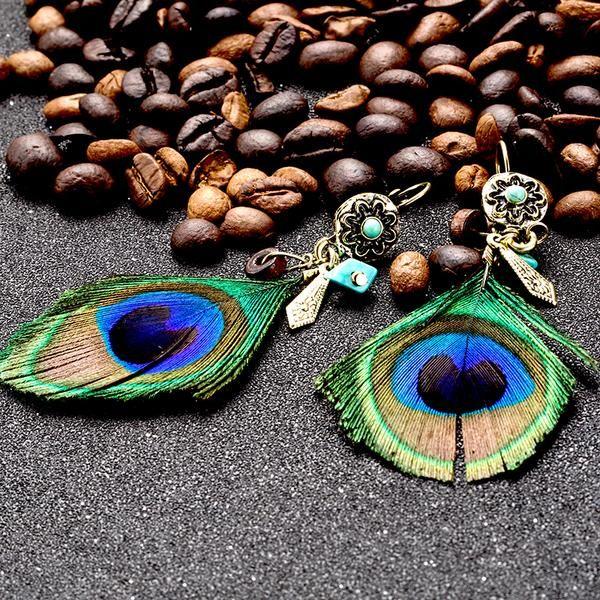 Ethnic Boho Peacock Feather Earrings