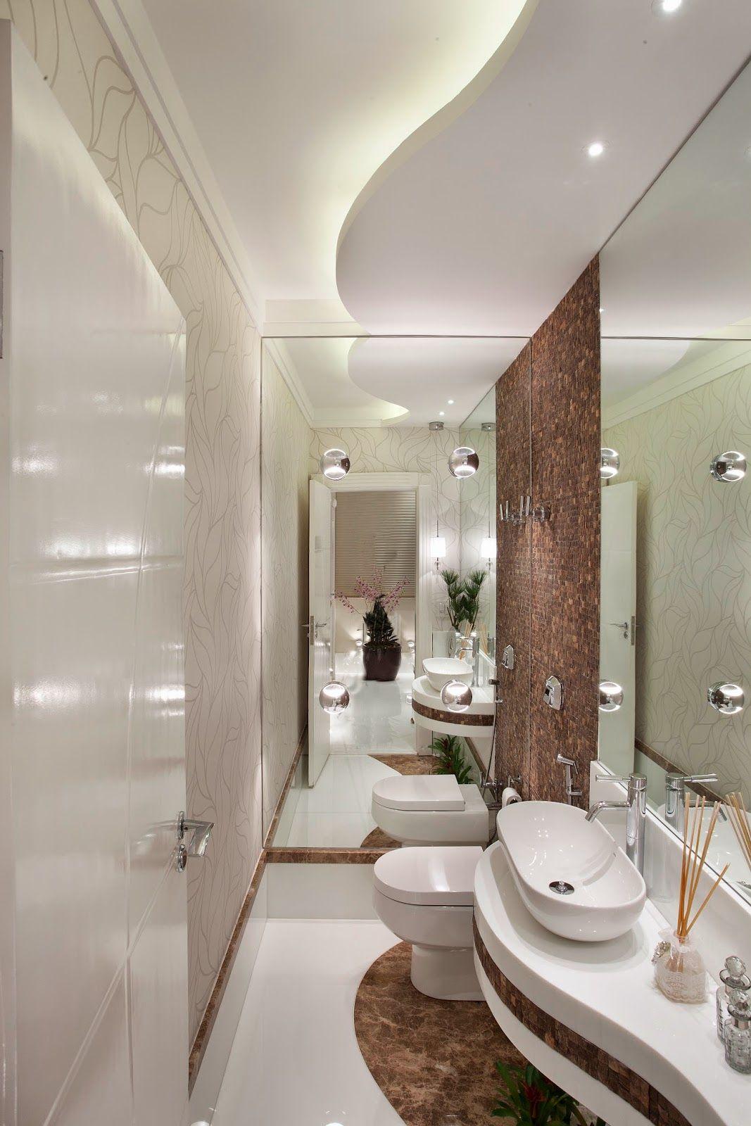 30 Lavabos pequenos e modernos  veja dicas de como ousar e decorar!  Decor  -> Dicas Banheiro Moderno