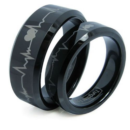 Black Wedding Rings For Men And Women Unique Black Wedding Rings Black Wedding Rings Mens Wedding Rings Tungsten Carbide Wedding Rings