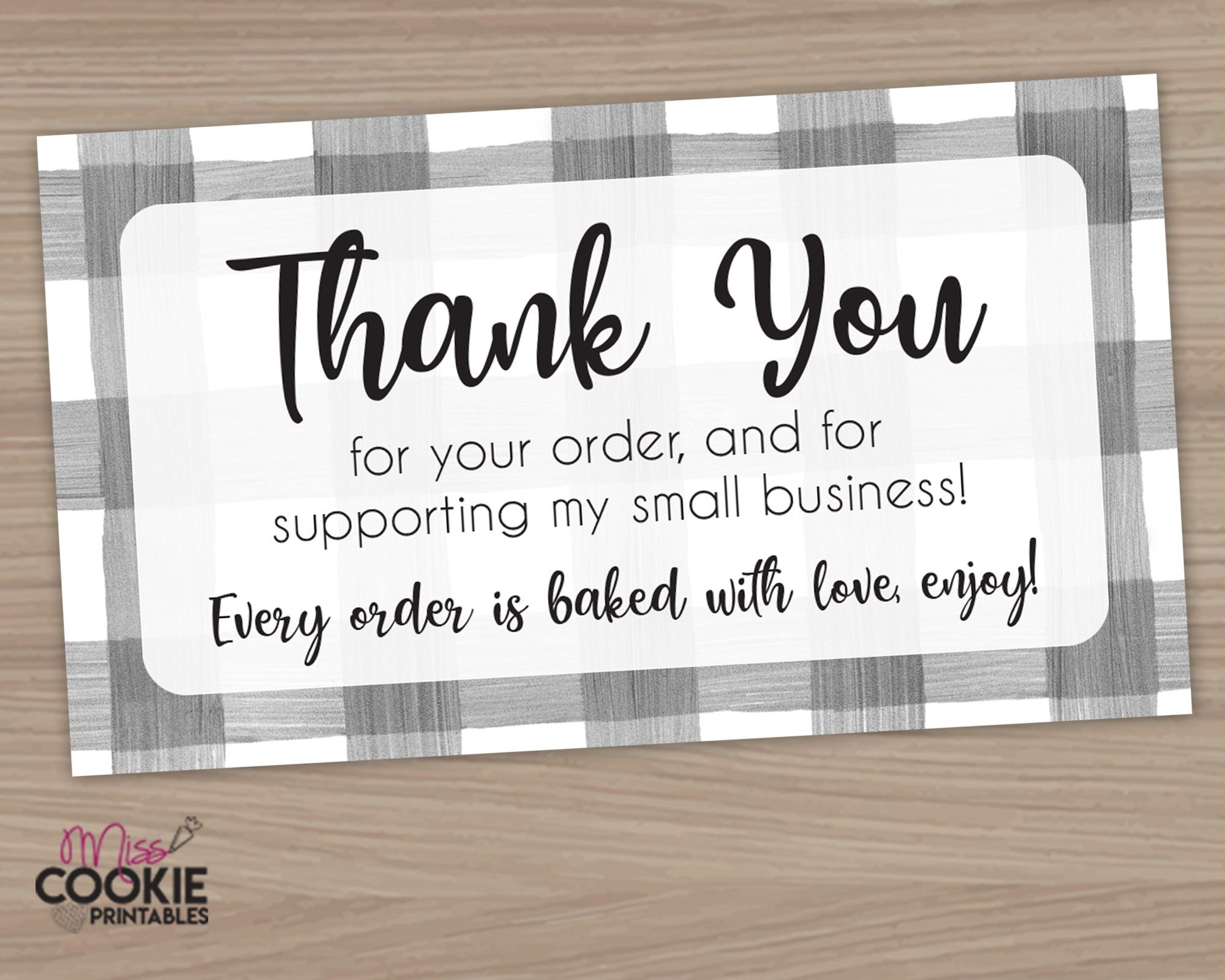 Printable Thank You For Your Order And For Supporting My Small Business Bakery Custo Small Business Cards Business Thank You Cards Printable Thank You Cards