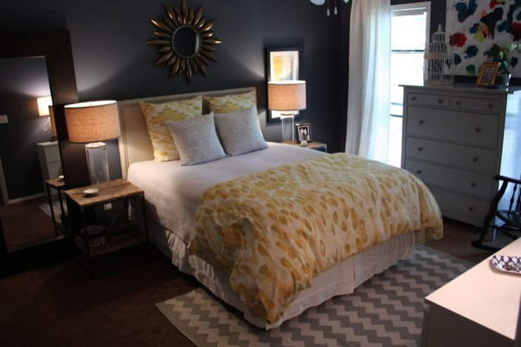 Dark Blue Gray Bedroom bedrooms - glidden - blue slate grey walls, urban outfitters rug