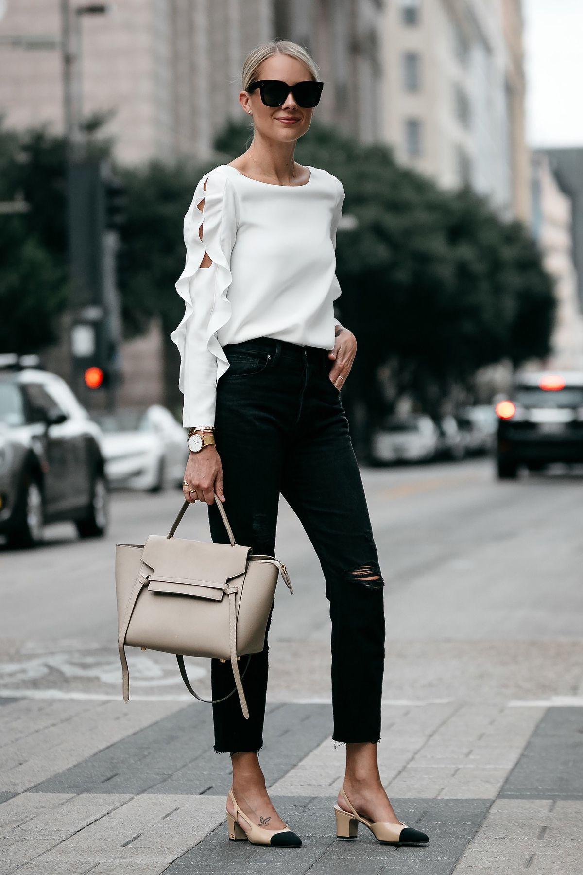 64156925468 Blonde Woman Wearing Club Monaco White Ruffle Sleeve Top Frame Black Ripped  Boyfriend Jeans Outfit Celine Belt Bag Chanel Slingbacks Fashion Jackson  Dallas ...