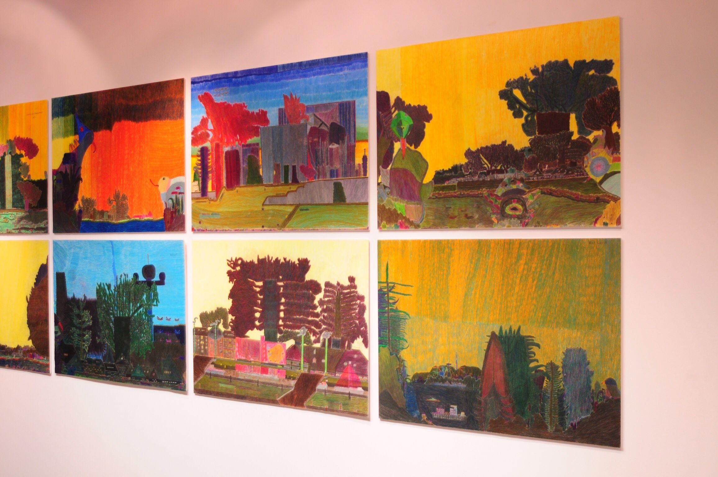Kleurpotloodtekeningen van Karhang Mui, atelier De Kaai, Goes, nu te zien op de Hogeschool HAN in Nijmegen.
