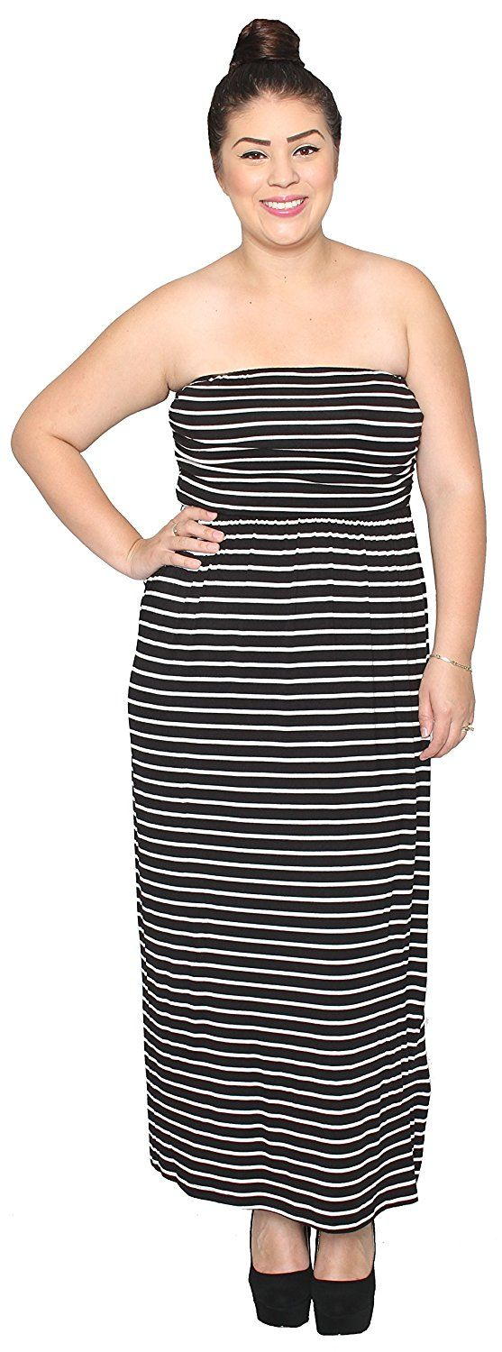 Libian Jr Plus Size Casual Everyday Striped Tube Top Maxi Dress