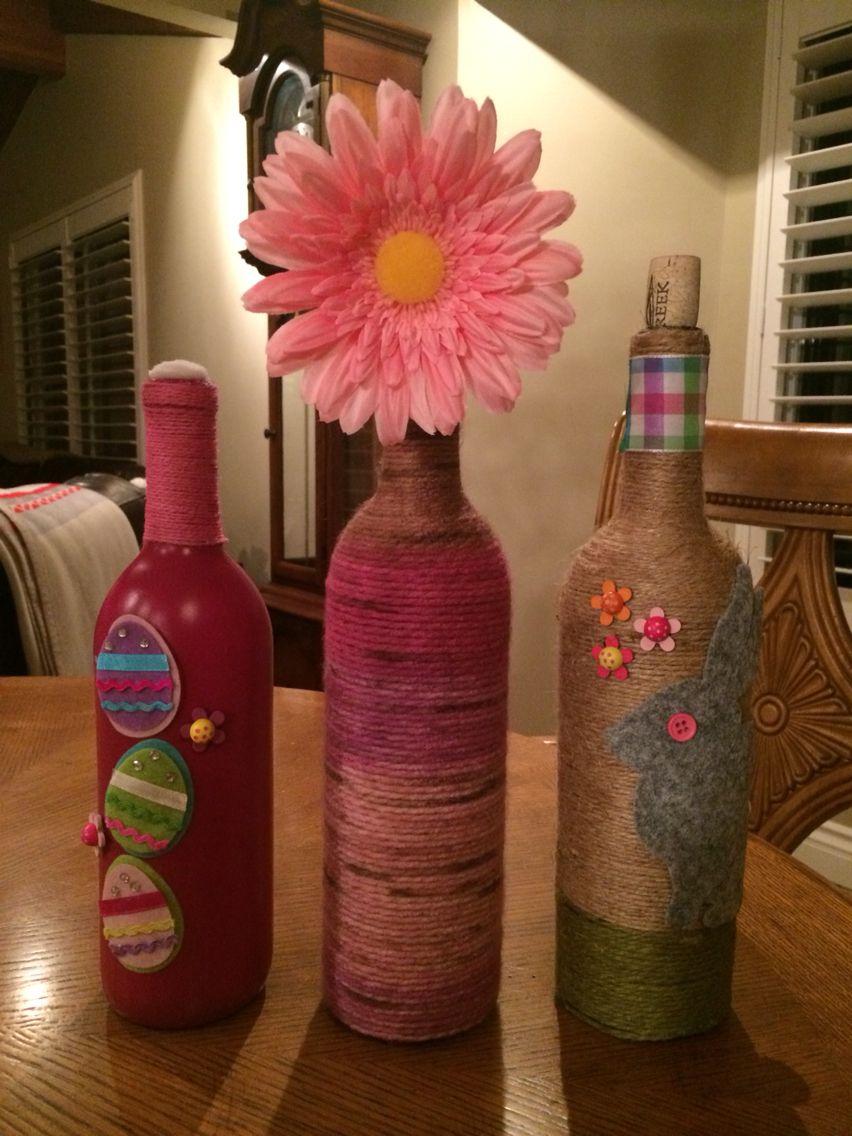 Easter Wine Bottles Easter Bottle Crafts Easter Wine Bottles Wine Bottle Crafts