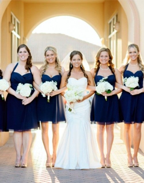 2017 Navy Blue Bridesmaid Beach Wedding Dresses Dark Gowns For