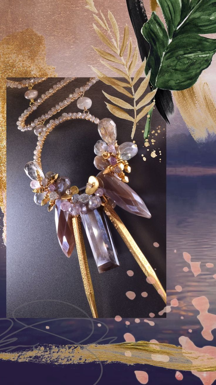 Kali Long MultiCircle Gemstone Drop Pendant Necklace