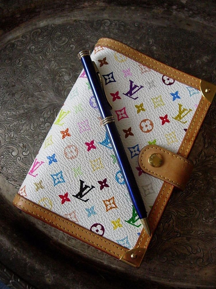 RARE Auth LOUIS  VUITTON Murakami White PM Notebook Portfolio Agenda Ring Binder #LouisVuitton #RingAgenda