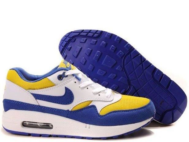quality design 84fff 76727 Fake Mens Nike Air Max 1 White Academy Blue Zest Shoes