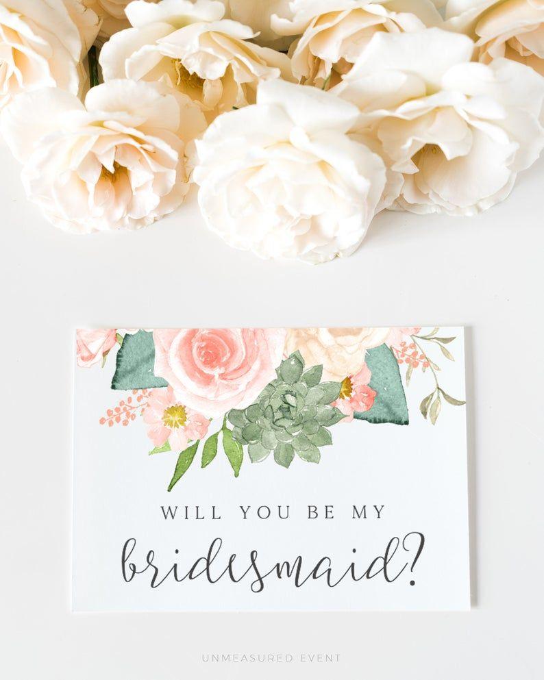 Finley Blush Bridesmaid Proposal Card Template Peach Floral Bridesmaid Proposal Succulent Bridesmaid Proposal Desert Bridesmaid Card In 2021 Bridesmaid Proposal Bridesmaid Proposal Cards Bridesmaid Cards