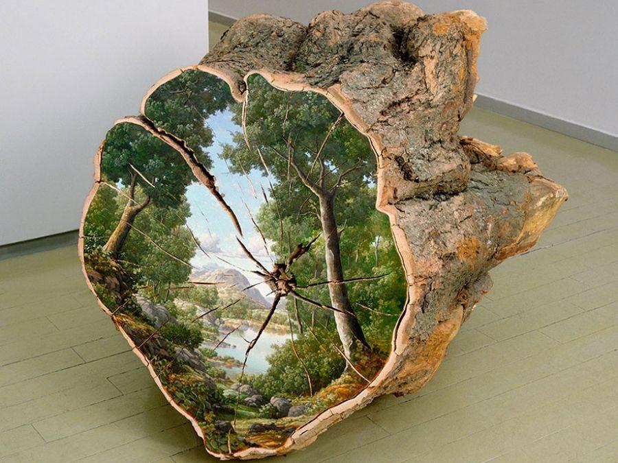 Una Artista Estadounidense Crea Obras De Arte Sobre El Tronco De árboles Caídos Antena 3 Tv Arte De árboles Arte En Madera Troncos Pintados