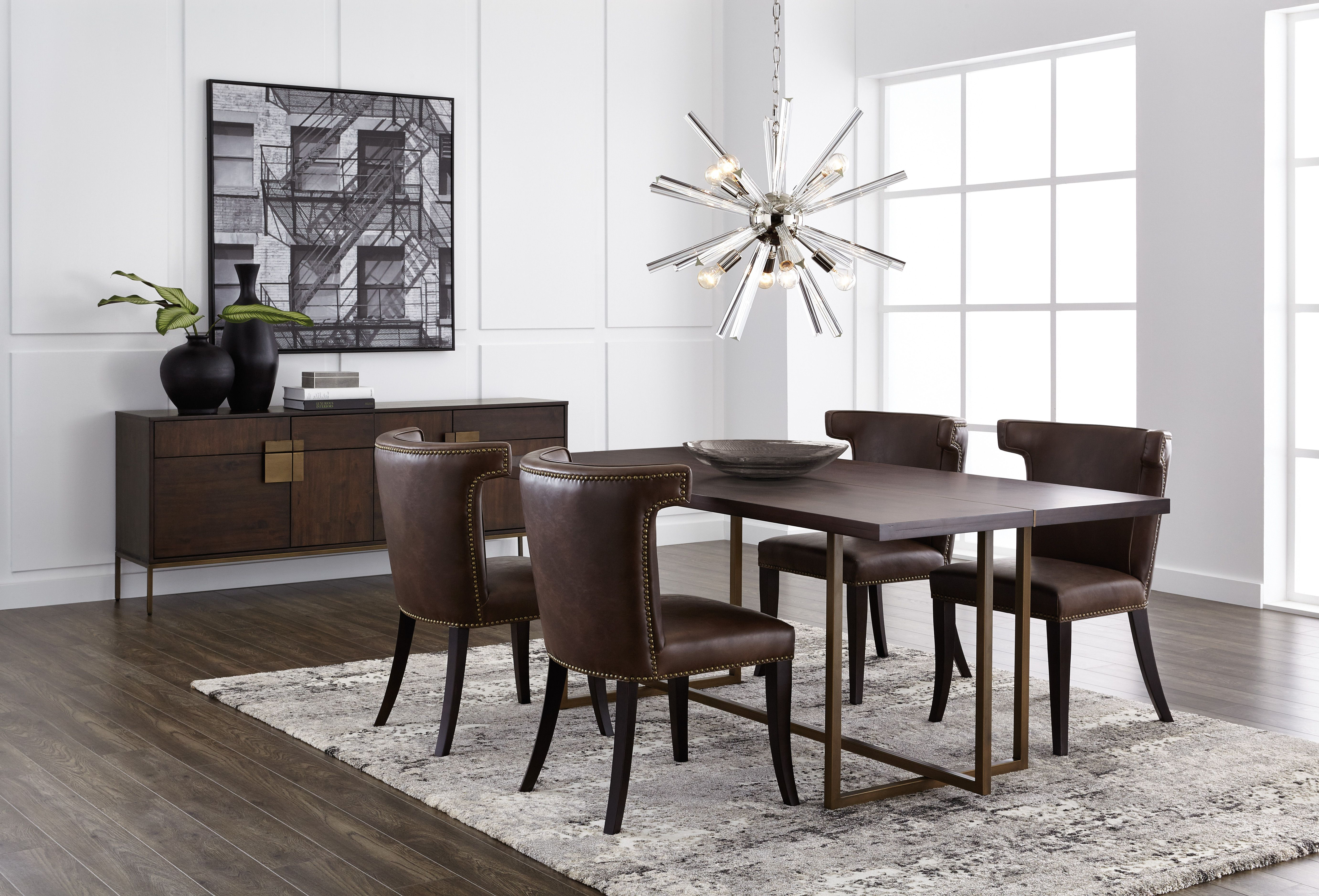 Stunning jade dining table made with acacia wood veneer and antique brass frame