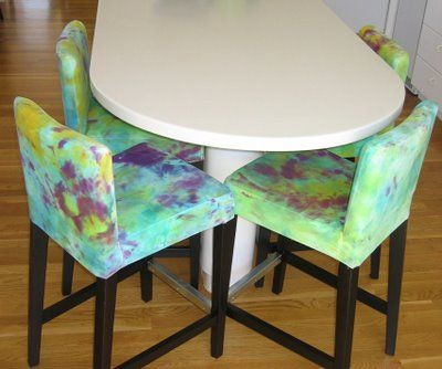 Pleasing Ikea Hack Henriksdal Barstools With Tie Dyed Seat Covers Creativecarmelina Interior Chair Design Creativecarmelinacom