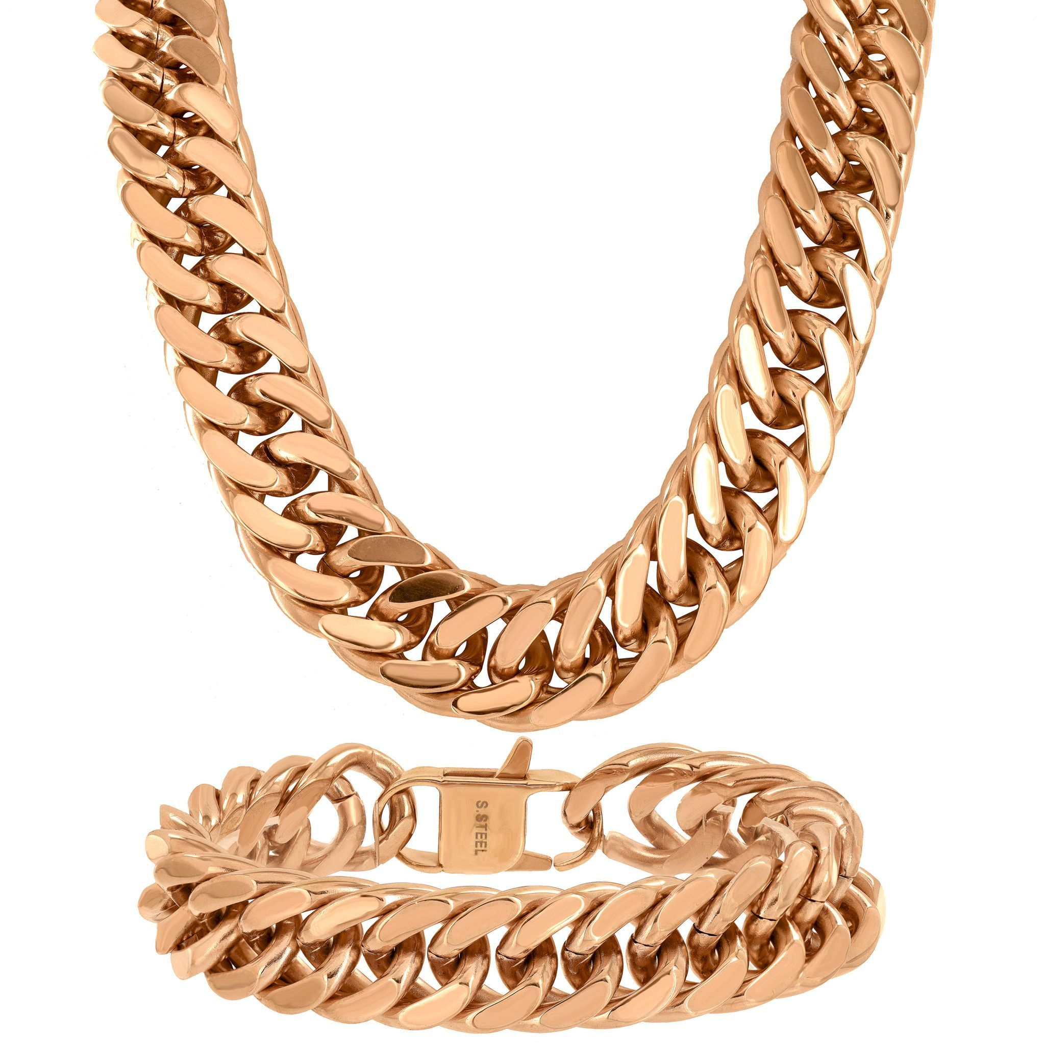 Neckalce bracelet combo k gold finish mm thick gr