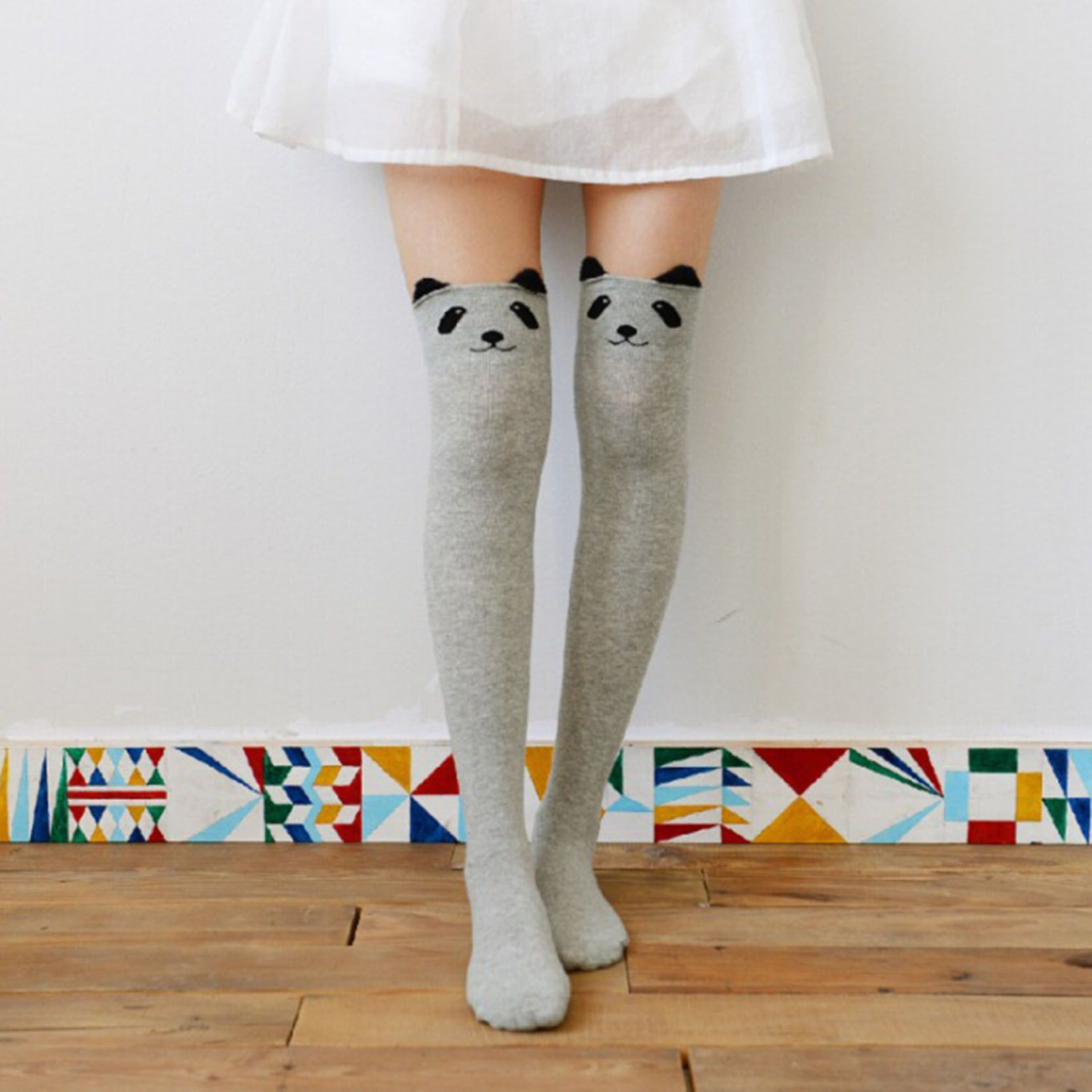 Hot Sale Girls Lovely Animal High Over The Knee Socks Multicolor New Fashion 5Colors Long Cotton Stockings For Women