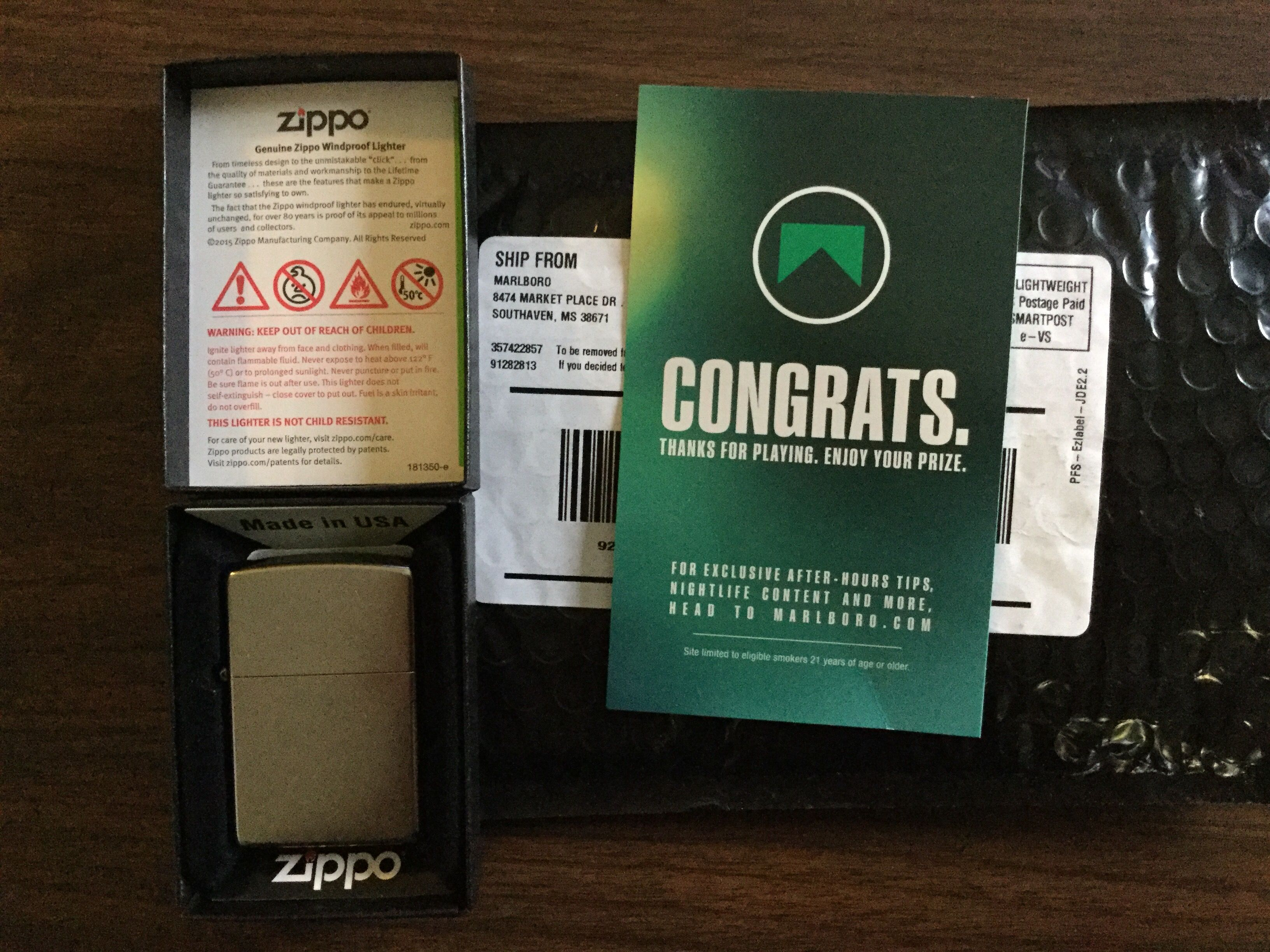 Winner of a Zippo lighter in the Marlboro Match Up Promotion ...