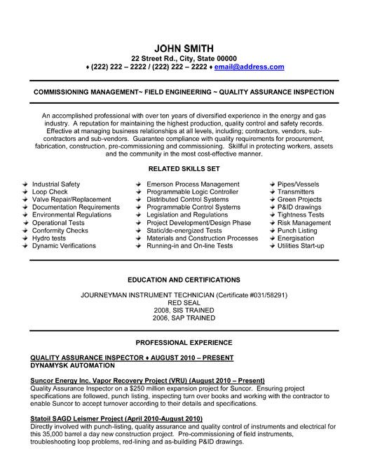 A professional resume template for a Quality Assurance Inspector - qa engineer resume