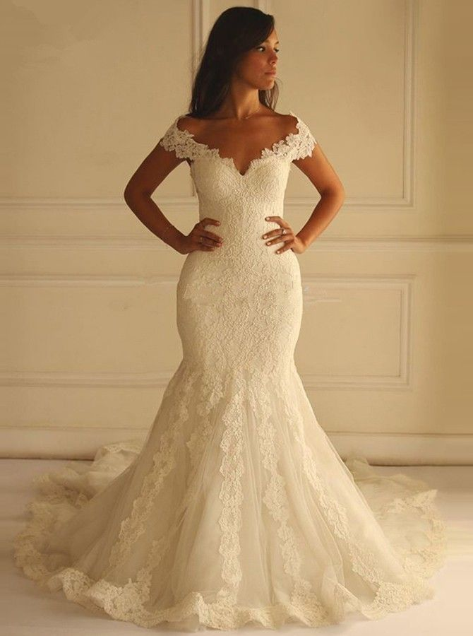 Special Off Shoulder Court Train Short Sleeves Mermaid Lace Wedding ...