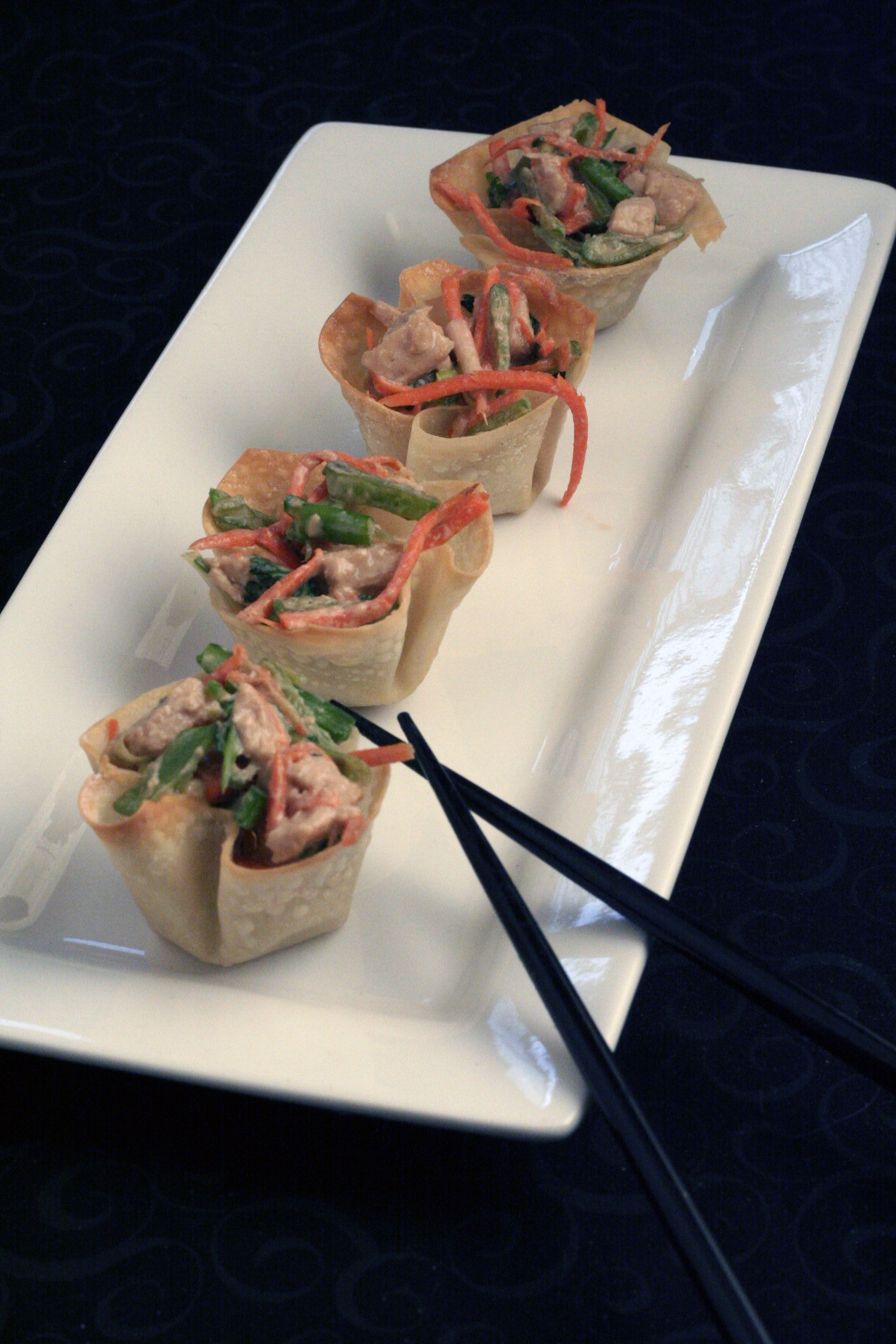 Asian Chicken Salad in Won Ton Cups