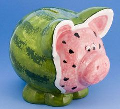 Watermelon Piggy Bank Paint Your Own Pottery Watermelon Art Piggy Bank