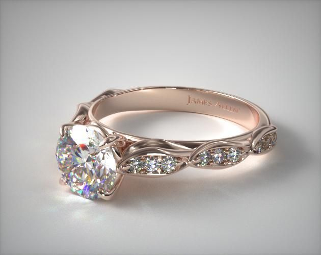 14K Rose Gold Cascading Petal Engagement Ring with a Round Cut