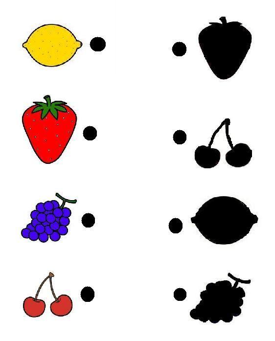 Het gekleurde fruit verbinden met de schaduw van het fruit ...
