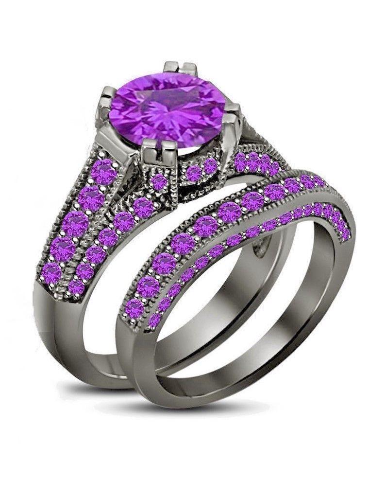 150 ct purple amethyst womens wedding band engagement