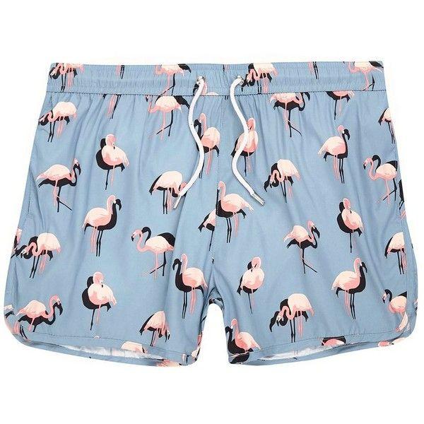 0dca85b63b River Island Blue flamingo print runner swim shorts ($13) ❤ liked on  Polyvore featuring men's fashion, men's clothing, men's swimwear and shorts