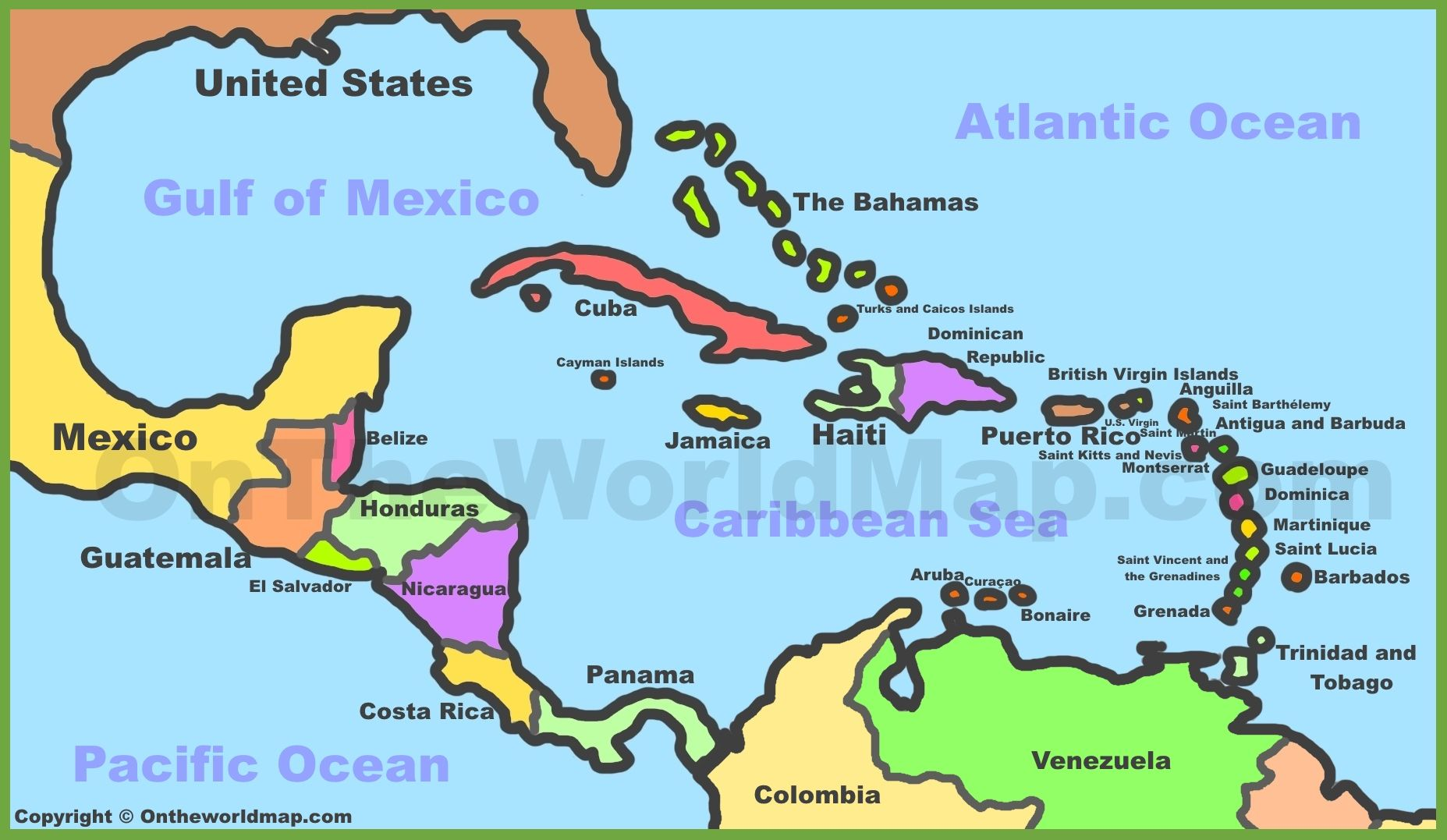 Political map of Caribbean | Us caribbean islands, Cuba ...