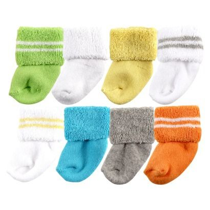 Luvable Friends™ Newborn 8 Pack Solid and Stripe Cuff Socks - Yellow 0-3M