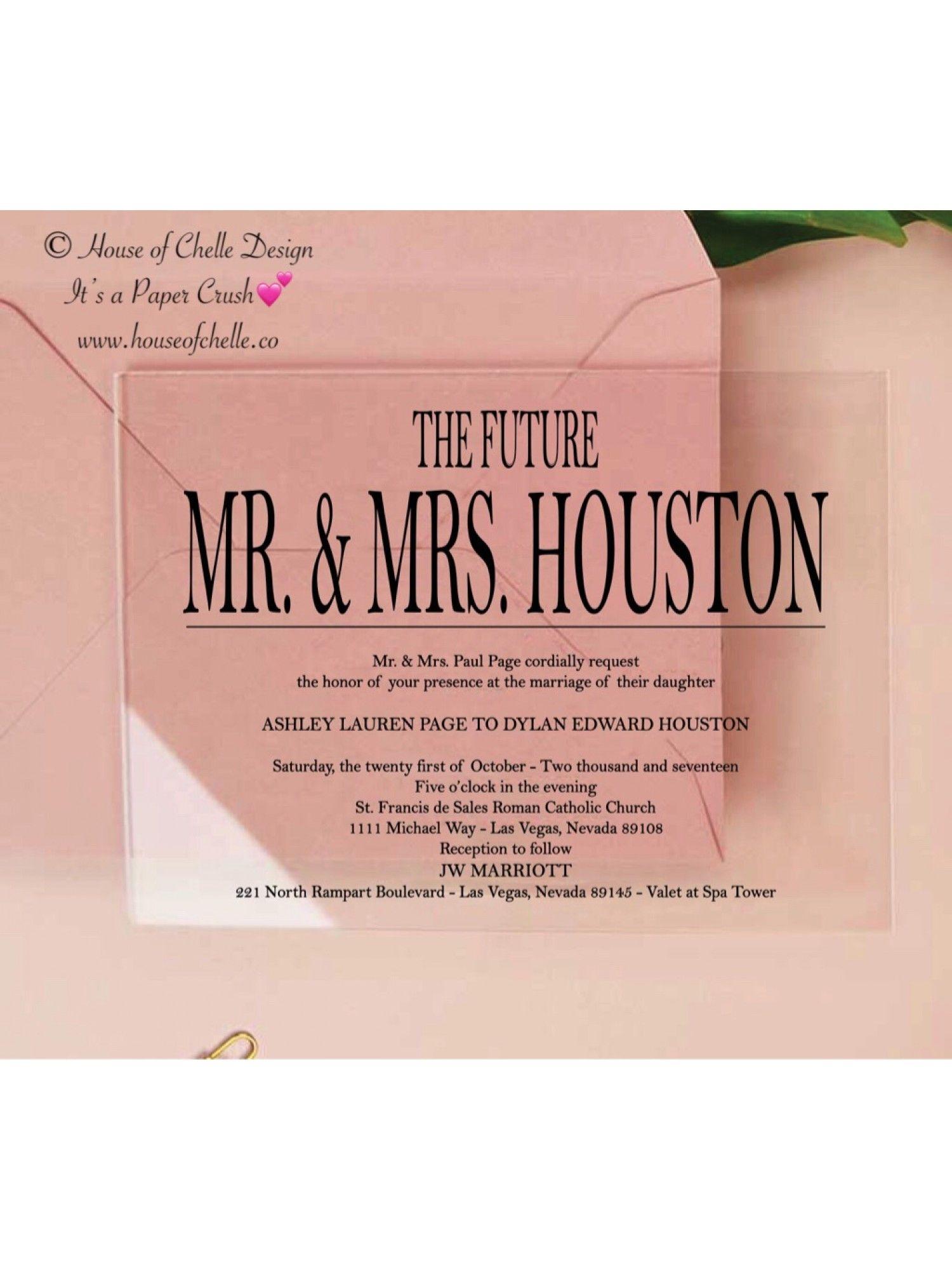Acrylic Wedding Invitation Acrylic Invitations, Clear