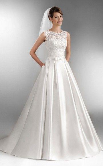 Agnes Bridal Style TO555 Box Pleat Wedding Dress With Bateau Neckline Drop Waist Bodice Princess