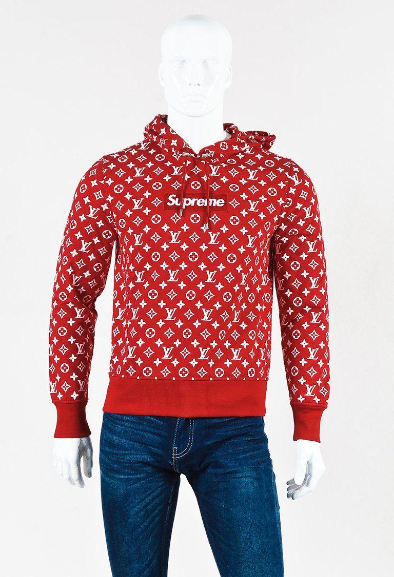 5e8ea4c5 Louis Vuitton x Supreme Men's Red & White Knit Monogram Hooded Sweatshirt