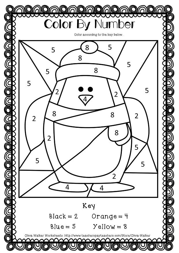 Free winter penguin color by number included in winter math numbers to ten