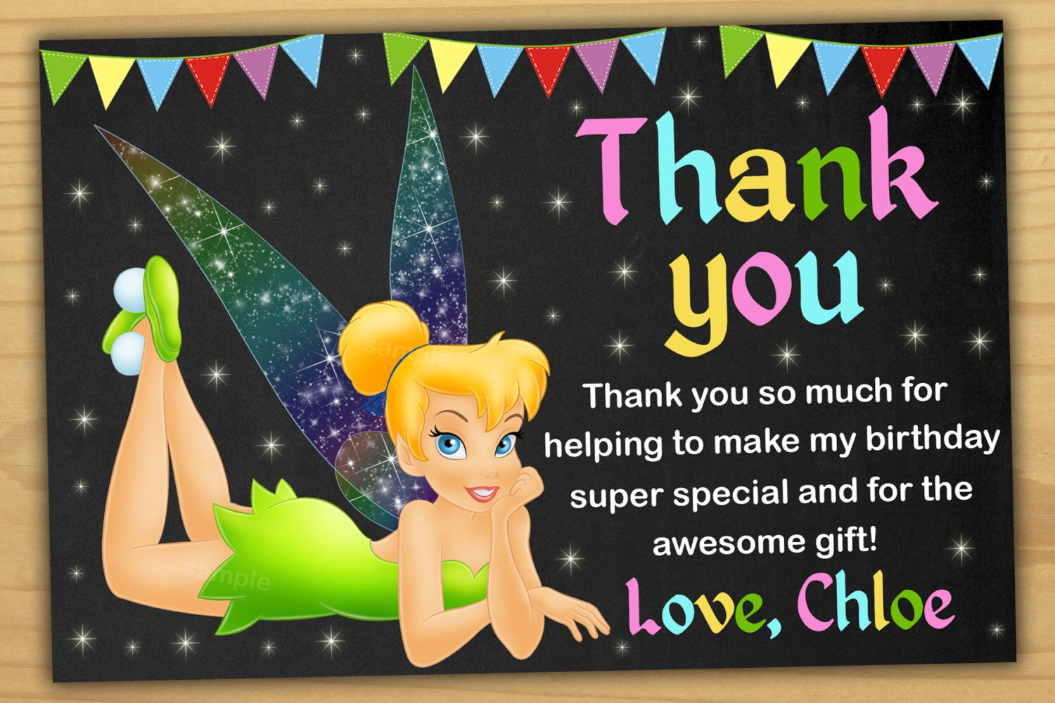 Tinker Bell Thank You Card Fairy Thank You Card Tinkerbell Thank