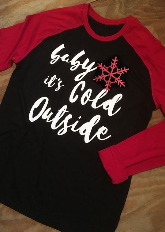 ece6e7ac5 #Fairy Season - #Christmas Christmas Plus Size Baby It's Cold Outside  Snowflake Baseball T-S - AdoreWe.com