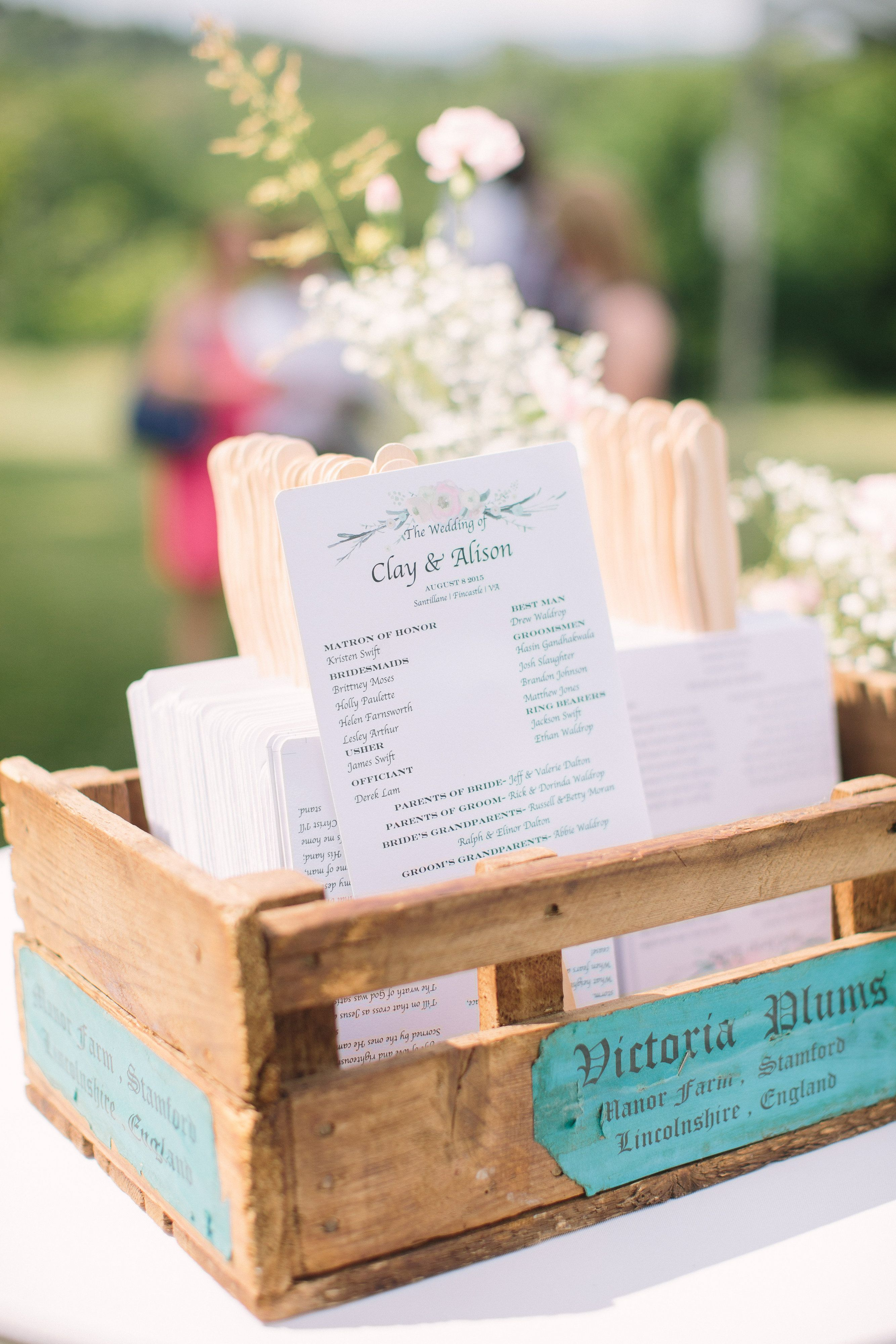 Simple invitation/fan combo for a outdoor #southernwedding. Photo by Kaitlyn Phipps Photography   #wedding #virginia #santillane